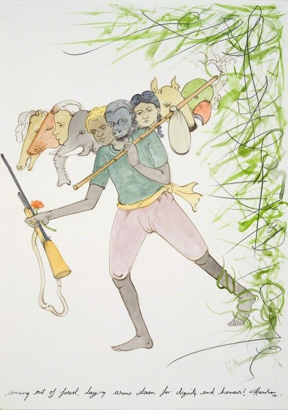 N.S. Harsha, 'Coming out of forest, laying arms down for dignity and honour!', 2012, Drawing, Collage or other Work on Paper, Watercolour and pencil on paper, Victoria Miro