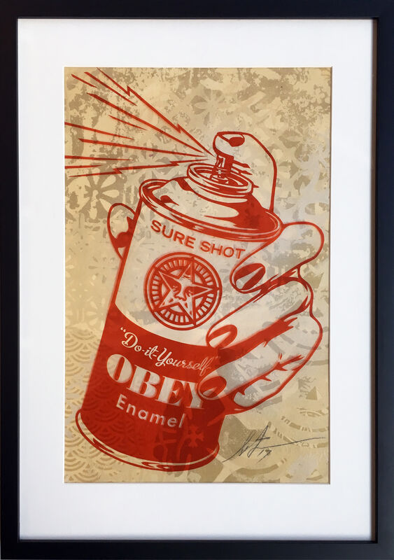 Shepard Fairey, 'Sure Shot Spray Can', 2017, Mixed Media, Handcut Rubylith Illustration, StolenSpace Gallery