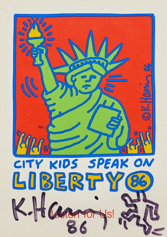 Keith Haring, 'Running Man on City Kids Speak on Liberty', 1986, Drawing, Collage or other Work on Paper, Black marker on postcard, Rago/Wright