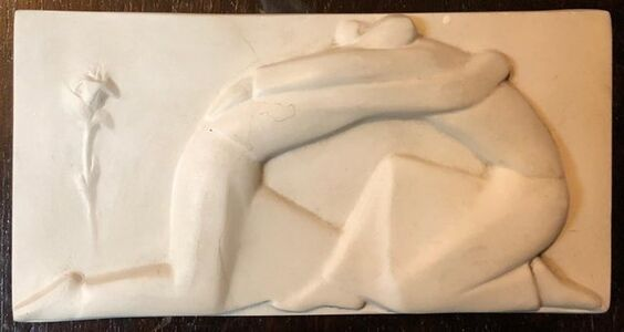 George Aarons, 'Plaster Sculpture Relief Art Deco Plaque WPA Artist Lovers Embrace, Rose ', 20th Century