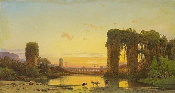 Hermann Corrodi, 'Tiber Landscape With Ancient Ruins', Late 1800