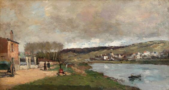 Albert Lebourg, 'Village et Promeneurs en Bord de Seine', ca. 1870s