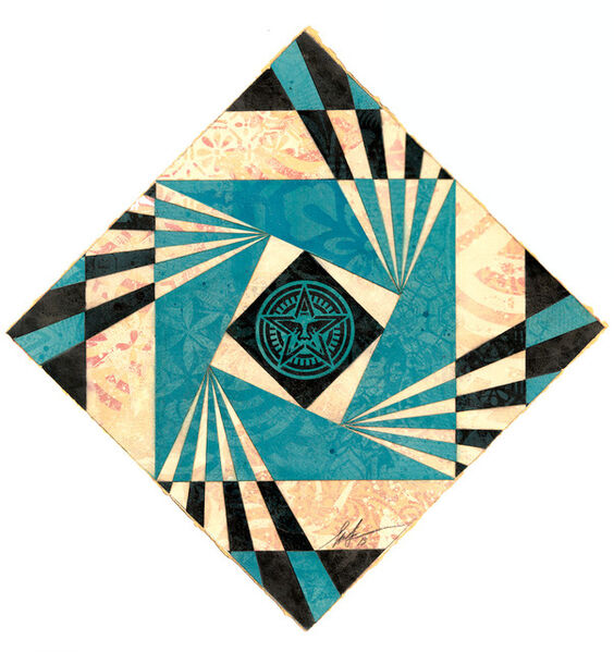 Shepard Fairey, 'Geometric Diamond (Blue/Cream) 2019', 2019