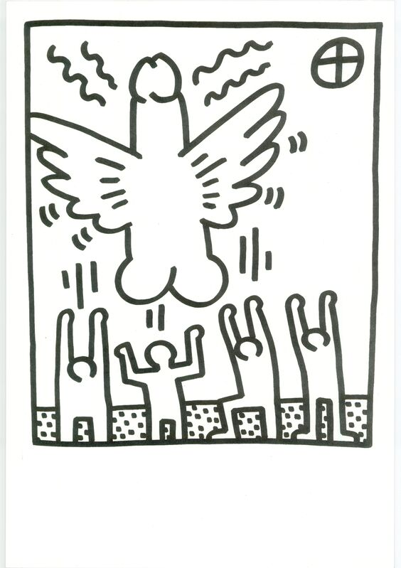 Keith Haring, 'Lithograph from Lucio Amelio's Artist Haring Book (1983) ', 1983, Print, Lithograph in black and white on paper, RestelliArtCo.