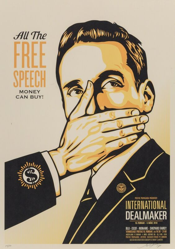 Shepard Fairey, 'Free Speech', 2018, Print, Mild crease to the upper left corner; dent to the extreme edge lower right. Sheet is loose. Unframed. <br>, Heritage Auctions