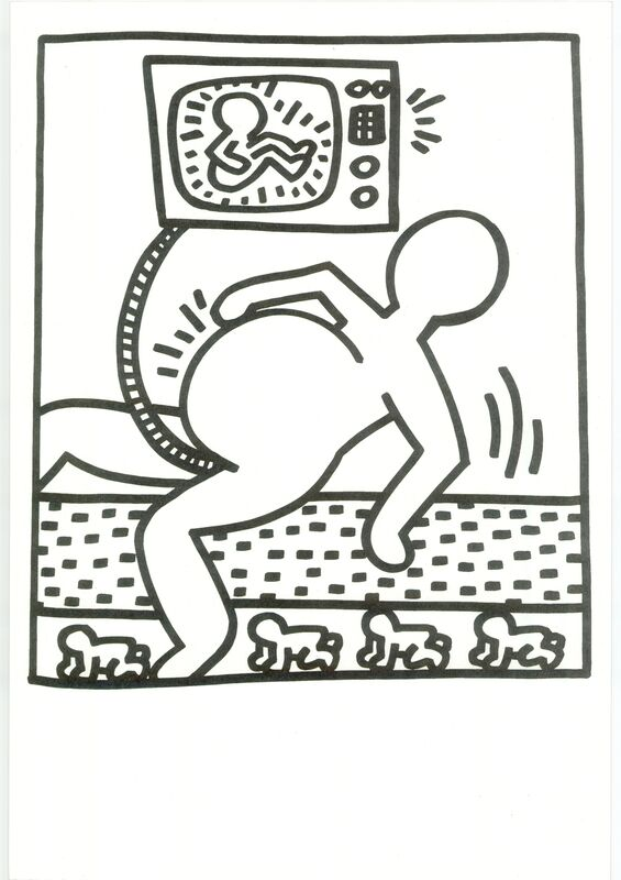 Keith Haring, 'Lithograph from Lucio Amelio's Artist Haring Book (1983)', 1983, Print, Lithograph in black and white on paper, RestelliArtCo.