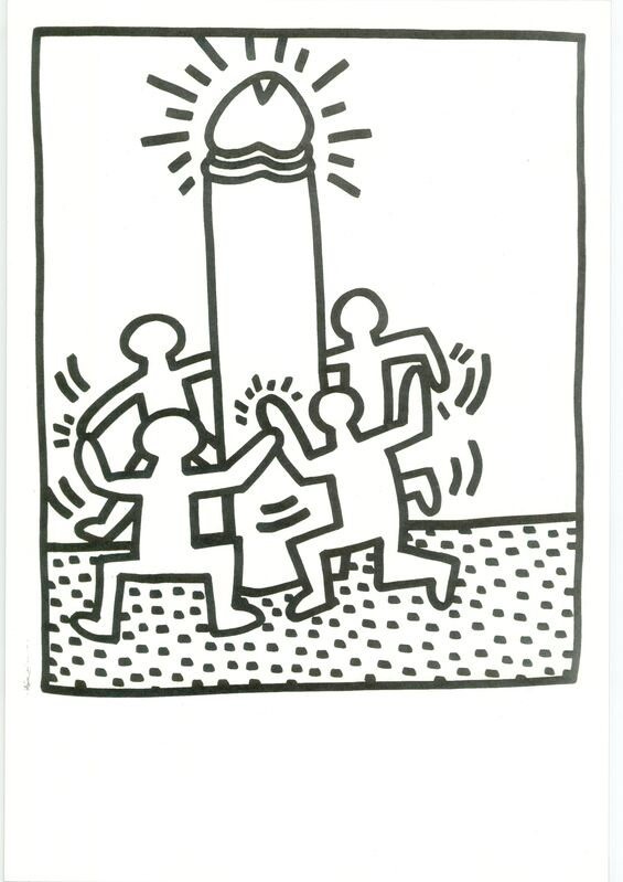 Keith Haring, 'Lithograph from Lucio Amelio's Artist Haring Book (1983)', 1983, Print, Lithograph in black and white on paper., RestelliArtCo.