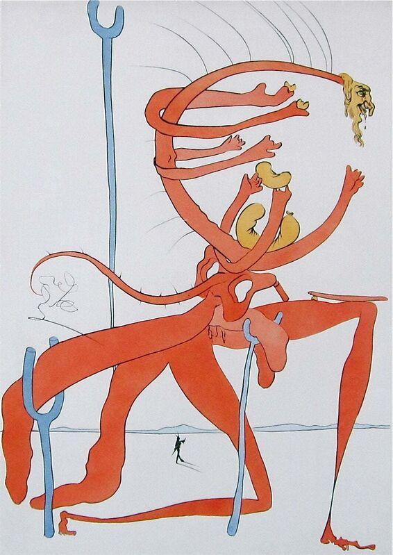 Salvador Dalí, 'Figure Rouge avec Portrait de Quevedo', 1975, Print, Engraving with pochoir on Japon paper, Art Commerce