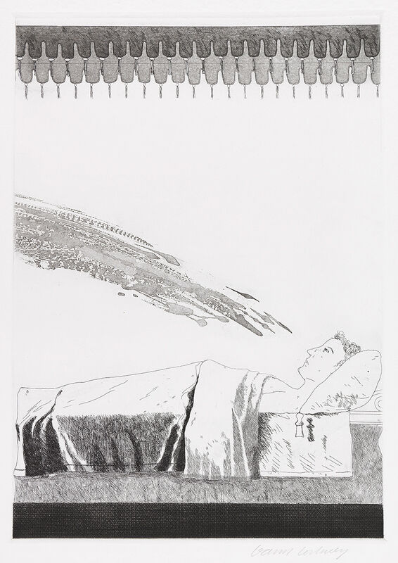 David Hockney, 'Cold Water about to hit the Prince', 1969, Print, Etching, Gerrish Fine Art