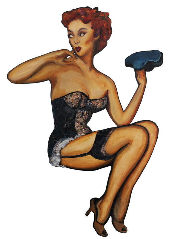 ThanxZoe, 'Pin-up Lady - Oo La La', 2019, Mixed Media, Acrylic and paper magazine cut-outs on wood, Beauty for Freedom