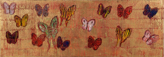 Hunt Slonem, 'Untitled (multicolored butterflies on gold)', 2020