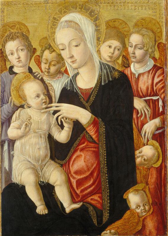 Matteo di Giovanni, 'Madonna and Child with Angels and Cherubim', ca. 1460/1465, Painting, Tempera (?) on panel, National Gallery of Art, Washington, D.C.