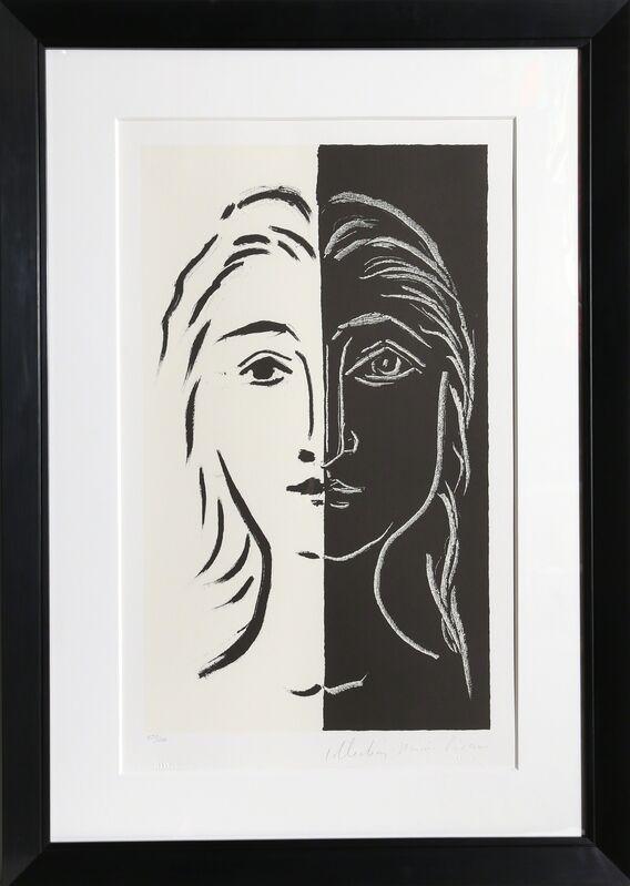 Pablo Picasso, 'Portrait en Deux Parties Noire et Blanche, 26-D', 1979-1982, Print, Lithograph on Arches, RoGallery