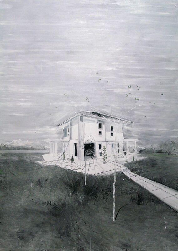 Frédéric Clot, 'Villa avec deux jeunes arbres', 2013, Painting, Oil on canvas, Ditesheim & Maffei Fine Art