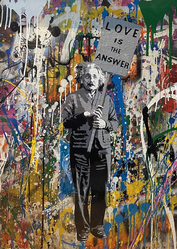 Mr. Brainwash, 'Love is the Answer (Einstein)', 2017, Mixed Media, Screenprint, spray paint and mixed media on paper, Heritage Auctions