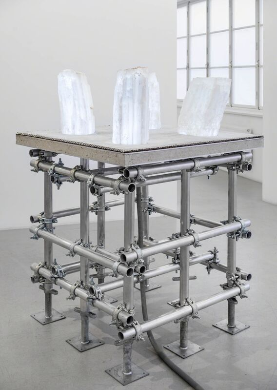 Siobhan Hapaska, 'Four Angels', 2012, Sculpture, Selenite, aluminium, concrete, cloth, electrial componoents 51 1/16 x 39 1/8 x 39 1/8 in. (130 x 100 x 100 cm)Base: 91 x 91 x 91Top: 100 x 100 x 2 cmSelenite blocks: app. 37 x 25 x 20 cm each, Andréhn-Schiptjenko