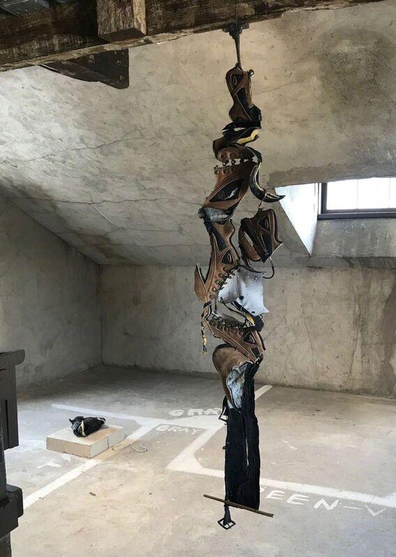 Yi Zhang, 'evening lead', 2018, Sculpture, Shoes, chopsticks, metal hook, Migrant Bird Space