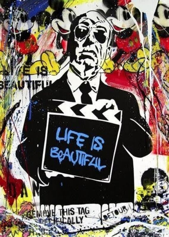 Mr. Brainwash, 'Hitchcock (Life is Beautiful)', 2015, Mixed Media, Acrylic and mixed media with screen printed background on card, Tate Ward Auctions