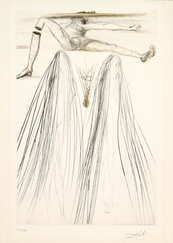 Salvador Dalí, 'The Giant Beliagog (Tristan and Iseult, Plate P)', 1970, Print, Hand-signed drypoint, Martin Lawrence Galleries