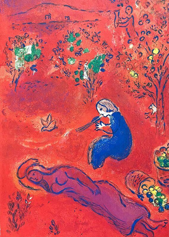 "Marc Chagall, '""A Midi, l'Été (Noon, in summer),"" from Daphnis et Chloé (Cramer 46; Mourlot 318)', 1977, Print, Offset lithograph on wove paper, Art Commerce"