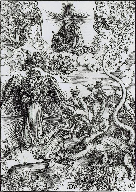 Albrecht Dürer, 'Das Sonnenweib und der siebenköpfige drache (The Apocalyptic Woman)', 1511, Print, Woodcut, R. S. Johnson Fine Art