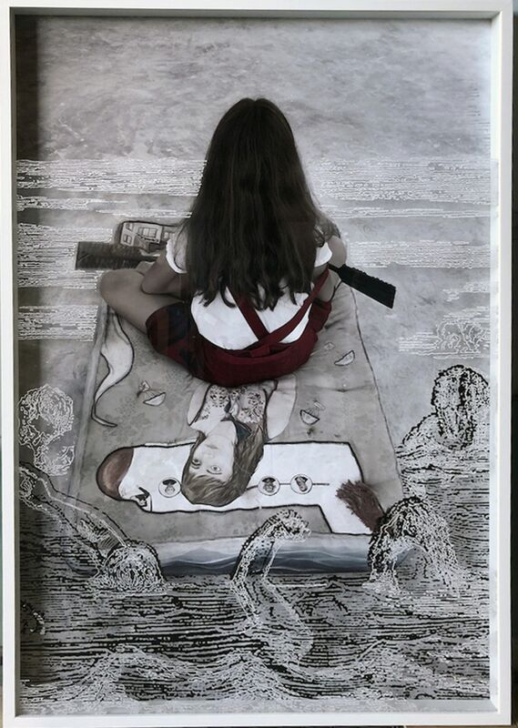 Sandra Ramos, 'Apocalyptic Cartographies, Charon', 2017, Photography, Photograph behind engraved acrylic, Pan American Art Projects