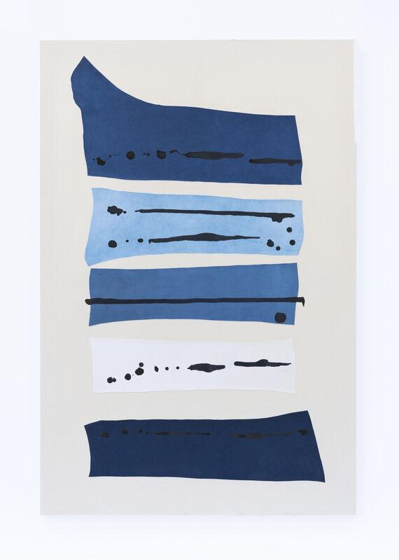 Amanda Millet-Sorsa, 'Sininen Hetki', 2020, Mixed Media, Natural indigo dyed cotton jeans, oak gall, honey, gum arabica ink on cotton canvas, SHIM Art Network