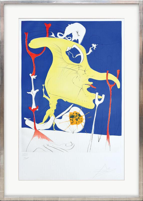 Salvador Dalí, 'Le dernier venu de la dernière planète. (Latecomer from the Last Planet.)', 1974, Print, Drypoint etching over chromolithograph with embossing on B F K Rives watermarked paper, Peter Harrington Gallery