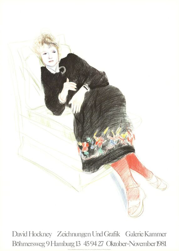 David Hockney, 'Celia In A Black Dress With Colored Border', 1981, Ephemera or Merchandise, Stone Lithograph, ArtWise