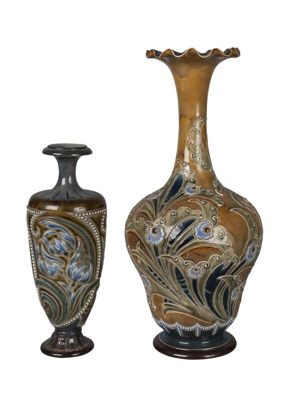 Doulton Lambeth, 'a stoneware vase by Eliza Simmance', c.1895, Design/Decorative Art, Incised, slip-trailed and glazed with stylised foliage; together with another vase by Eliza Simmance, incised with stylised foliage and applied with beading, impressed factory marks, incised monogram, 147, Roseberys
