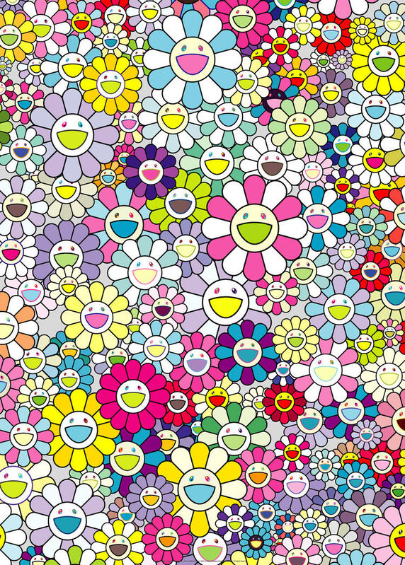 Takashi Murakami, 'Champagne Supernova: multicolor + pink and white stripes', 2013, Print, Offset print with silver, Pinto Gallery