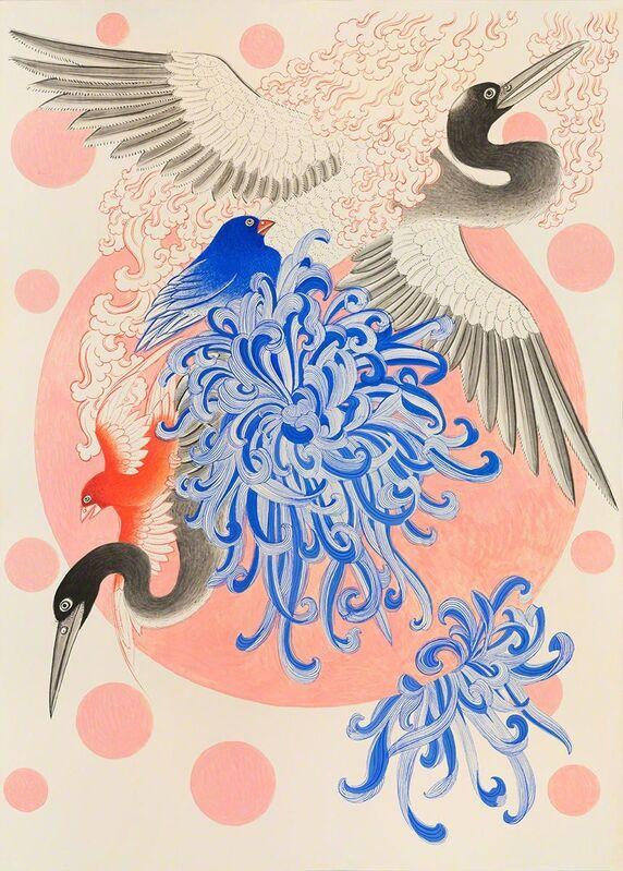 Pema Rinzin, 'Pink Moon 2', 2016, Painting, Ground mineral pigments, sumi ink, gouache, Joshua Liner Gallery