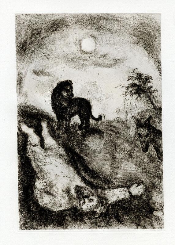 Marc Chagall, 'Prophète Tué par un Lion (A Prophet Killed by a Lion)', 1956, Print, Etching, Goldmark Gallery