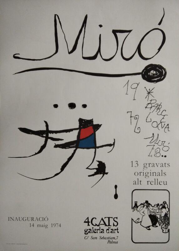 Joan Miró, 'Miró, 13 gravats originals. Barcelona 1972-73. 4 Gats, galeria d'art, 1974', 1974, Ephemera or Merchandise, Paper, promoart21
