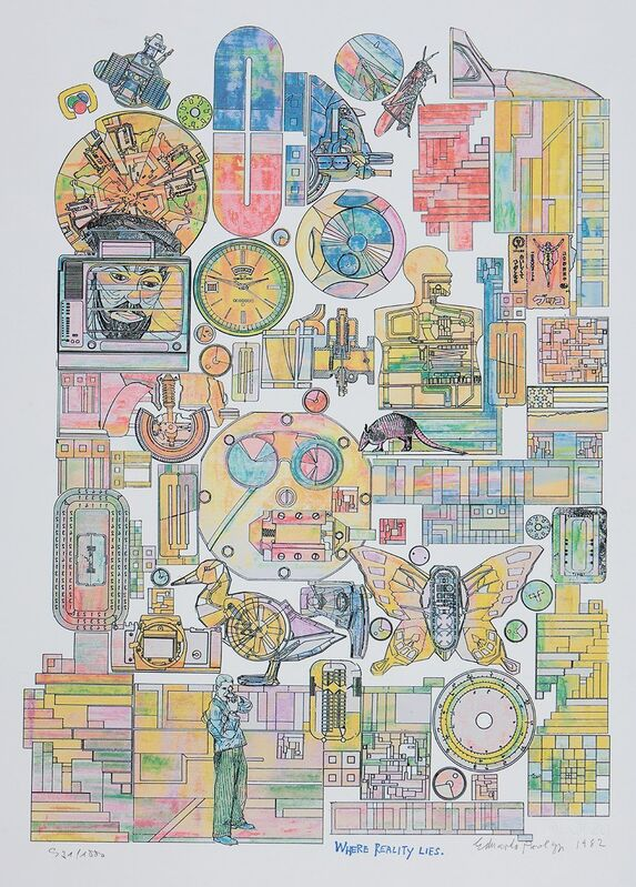 Eduardo Paolozzi, 'Where Reality Lies', 1982, Print, Original coloured screenprint on wove paper with blindstamp, after the larger hand-coloured print of 1981, ModernPrints.co.uk