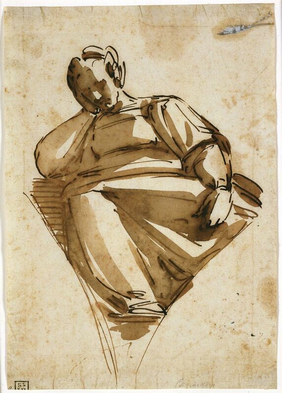 Luca Cambiaso, 'A Sibyl', mid 1570s, Drawing, Collage or other Work on Paper, Pen and iron gall ink with brush and brown wash over black chalk, dissolved, Blanton Museum of Art