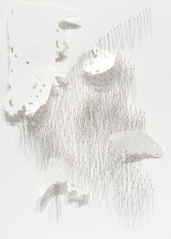 Safaa Erruas, 'Frontière 1', 2017, Drawing, Collage or other Work on Paper, Paper cuts and fragmented needles on cotton paper, L'Atelier 21