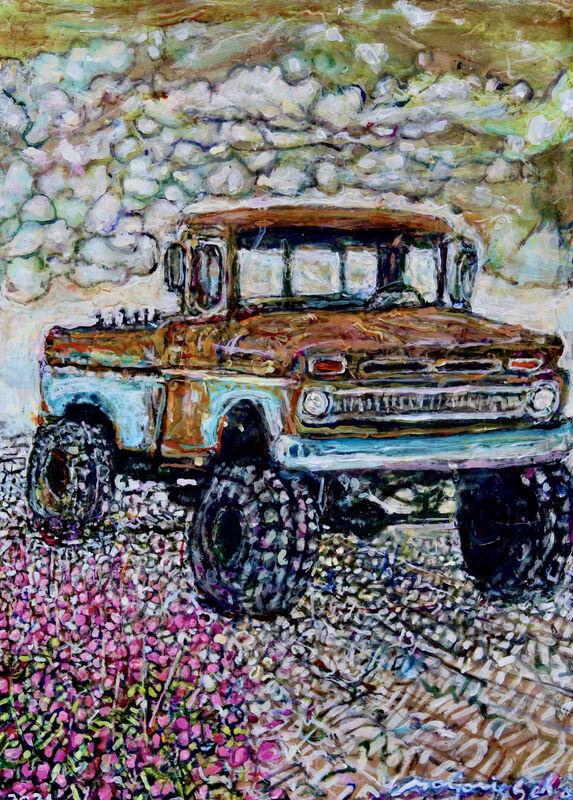 Marjorie Scholl, 'Truck XO', 2021, Painting, Acrylic on wood, McVarish Gallery