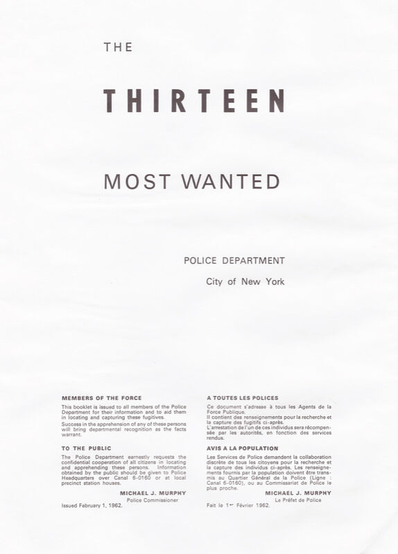 Andy Warhol, 'The Thirteen Most Wanted Men - John Joseph Jr. with Dossier', 1967, Print, Screenprint on paper, RestelliArtCo.