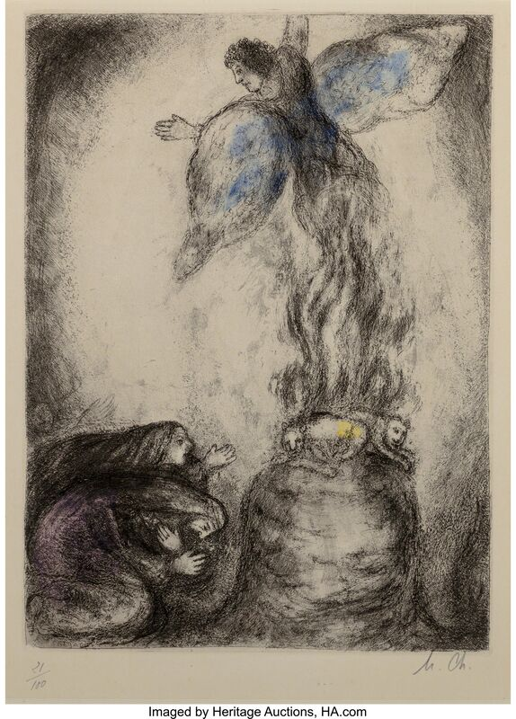 Marc Chagall, 'Sacrifice de Manoach, from The Bible', 1956, Print, Etching with handcoloring on Arches paper, Heritage Auctions