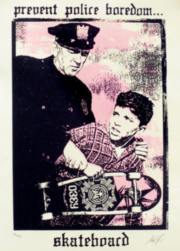 Shepard Fairey, 'Prevent Police Boredom', 2018, Print, Speckletone paper, AYNAC Gallery