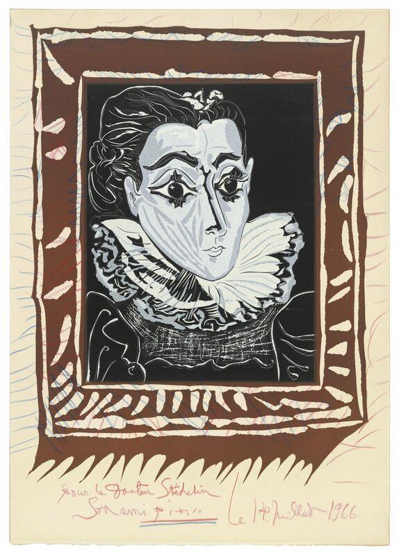 Pablo Picasso, 'La dame à la collerette (Portrait de Jacqueline à la Fraise)', 1962-1963, Print, Linocut in colours with extensive hand-colouring in red and blue crayon on Arches wove paper, Christie's