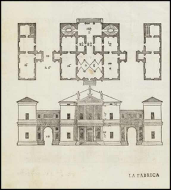 Andrea palladio plan and elevation of the villa pisani for Palladian style house plans