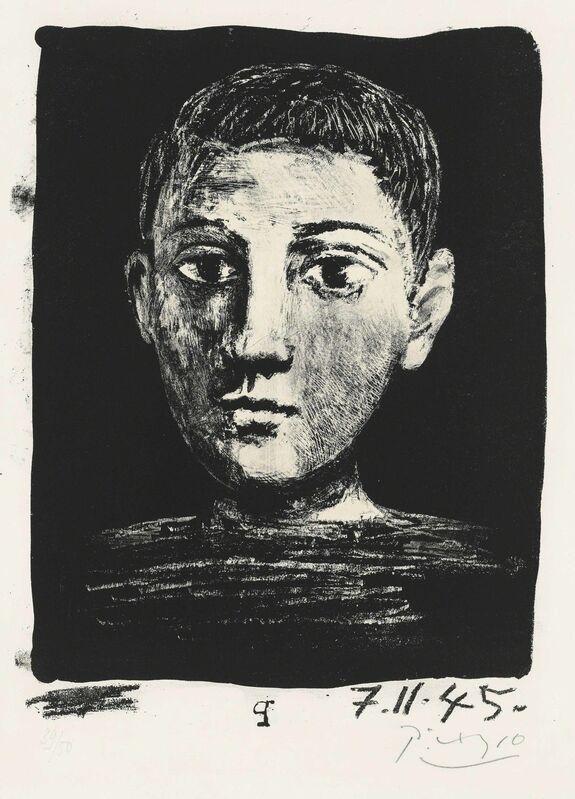 Pablo Picasso, 'Tête de jeune garҫon', 1945, Print, Lithograph on Arches wove paper, Christie's