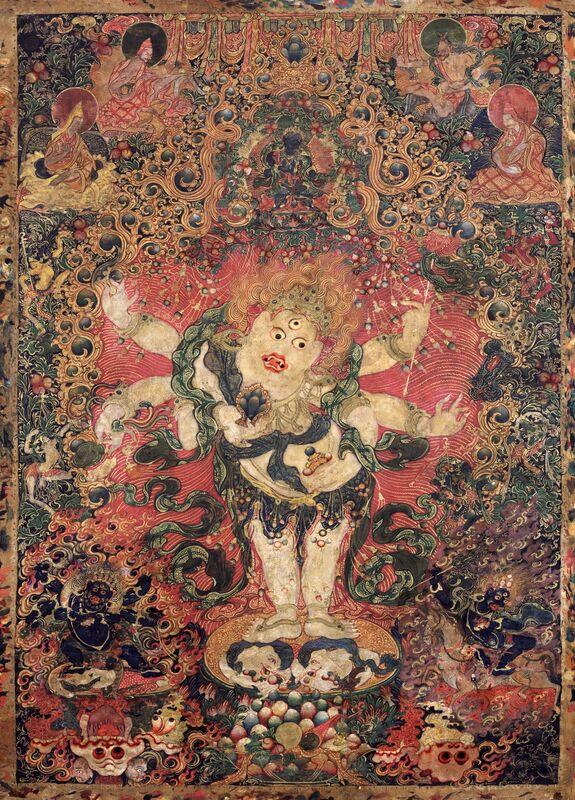 'Six-armed White Mahakala', Late 18th century, Painting, Pigments on cloth, Rubin Museum of Art