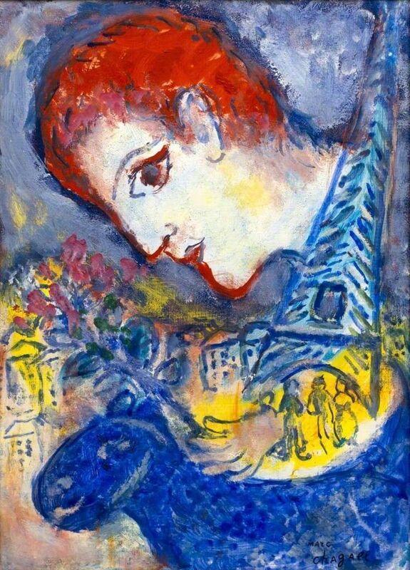 Marc Chagall, 'Le peintre à la Tour Eiffel', 1965-1970, Painting, Oil on masonite, Galerie Thomas