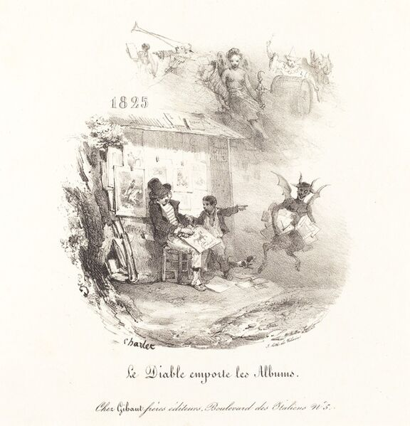 Nicolas-Toussaint Charlet, 'Le Diable emporte les Albums (The Devil Runs Off with the Lithograph Albums)', 1825