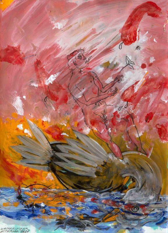 Christian Ludwig Attersee, 'Wetterlecker', 2020, Painting, Mixed media on cardboard, Galerie Schloss Parz Kunstzentrum OG
