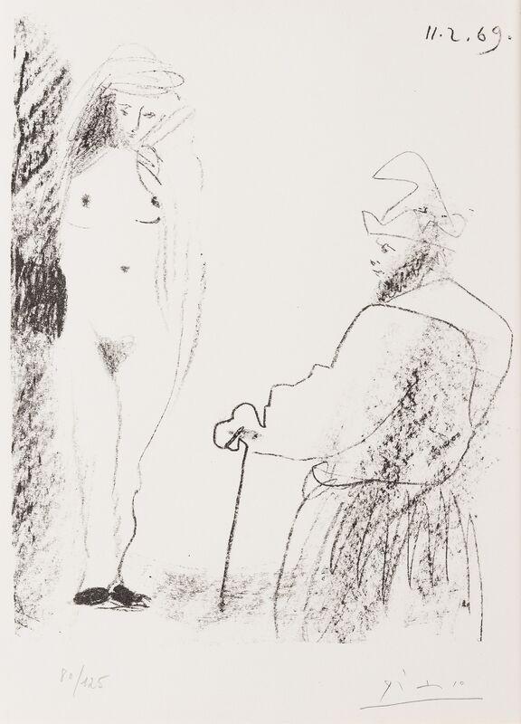 Pablo Picasso, 'Femme Nue et Homme a la Canne (Bloch 1464)', 1969, Print, Transfer lithograph, Forum Auctions