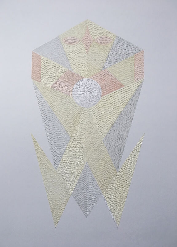 Lucha Rodriguez, 'Knife Drawing Papagayo VII - Manipulated Textured Paper (Yellow + Pink)', 2019, Drawing, Collage or other Work on Paper, Watercolor on manipulated paper, Gallery 1202